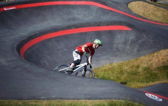 Ramsay on the Velosolutions Pump Track at Cathkin Braes in Glasgow